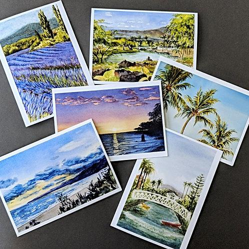 Landscape greeting card set