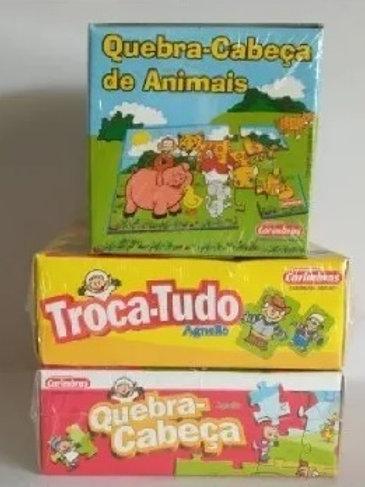 Kit de Jogos com 3 Quebra Cabeça Infantil
