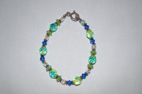Blue & Lime Swarovski Beaded Bracelet