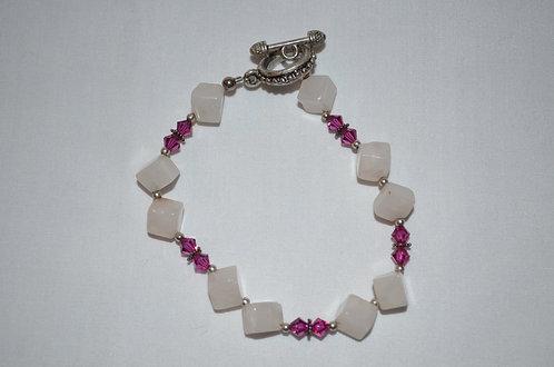 Rose Square Beaded Swarovski Crystal Bracelet