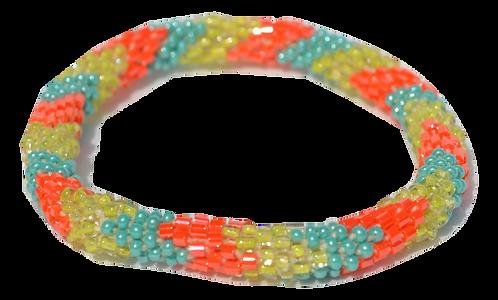 Orange Multi Chevron Bead Bracelet