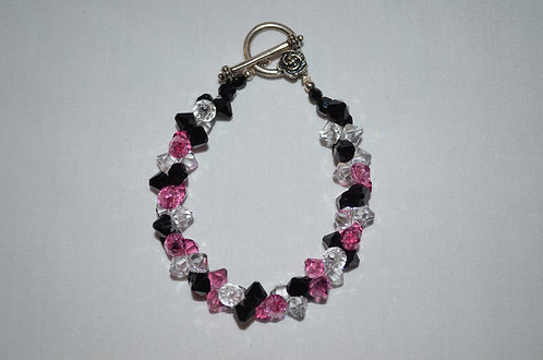 Black Rose Swarovski Beaded Bracelet