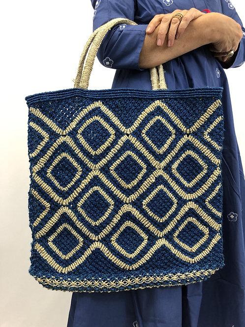 Jute Bag Blau/Beige