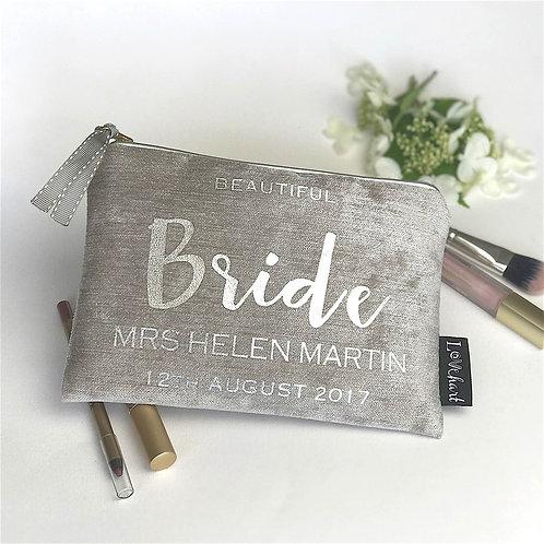 Chenille Velvet 'Silver Trim' Clutch Style Bag
