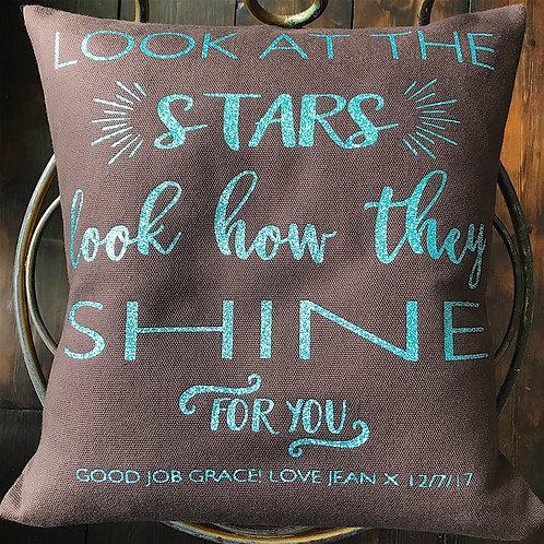 'Look at the Stars' Cushion - CHOCOLATE