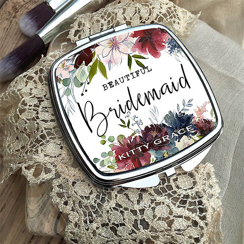 Personalised 'Rich Floral' Compact Mirror