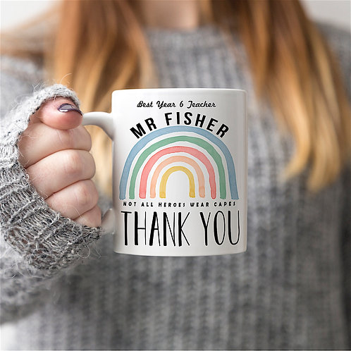 Rainbow 'THANK YOU' Personalised Mug