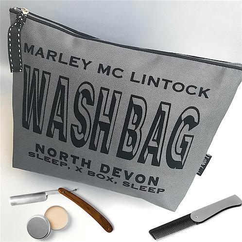 Large Grey Luxury Wash Bag 'Race' Font