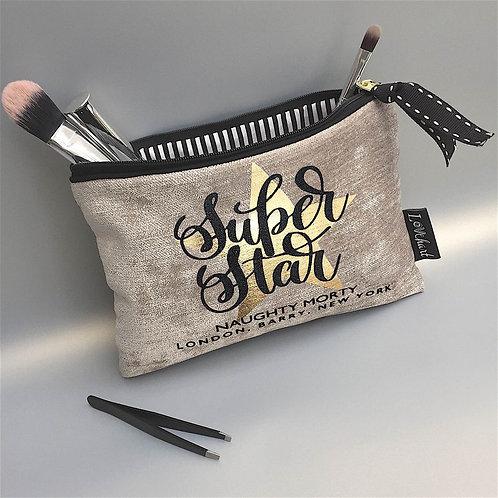 'Super Star' star quote Chenille Velvet 'Black Trim' Clutch Style Bag