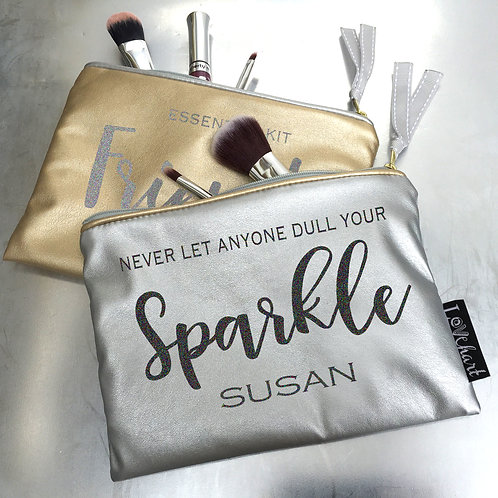 Silver Metallic Leatherette Clutch Make up Bag