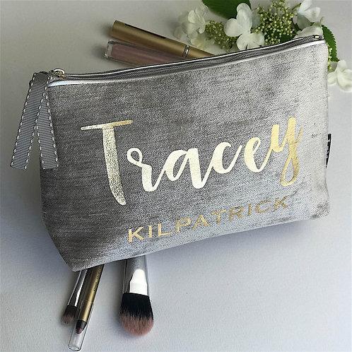 Chenille Velvet 'Silver Trim' Makeup Bag