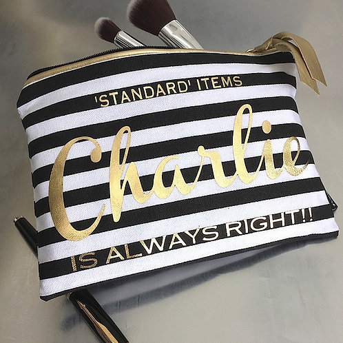 Makeup/Clutch Style Bag 'Stripe with Gold Text'