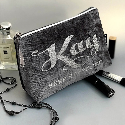 Slate Velvet 'Silver Leatherette Trim' Makeup Bag