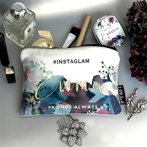 Rich Dark Floral Shimmer Velvet Bag