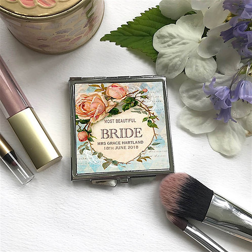 Personalised 'Vintage Rose'Square Shape Compact Mirror