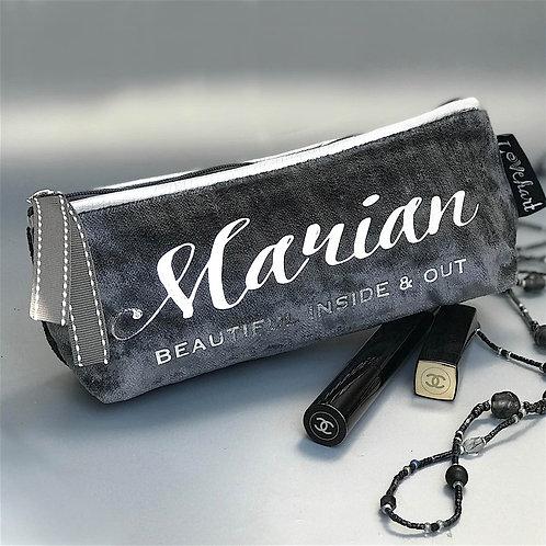Slate Grey Velvet 'Silver Leatherette Trim' Makeup or Glasses Case