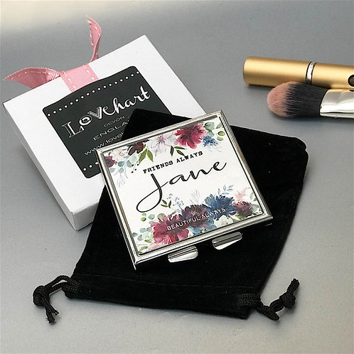 Personalised 'Vintage Rose' Square Shape Compact Mirror