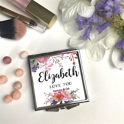 Personalised 'Posey Bouquet Square' Compact Mirror