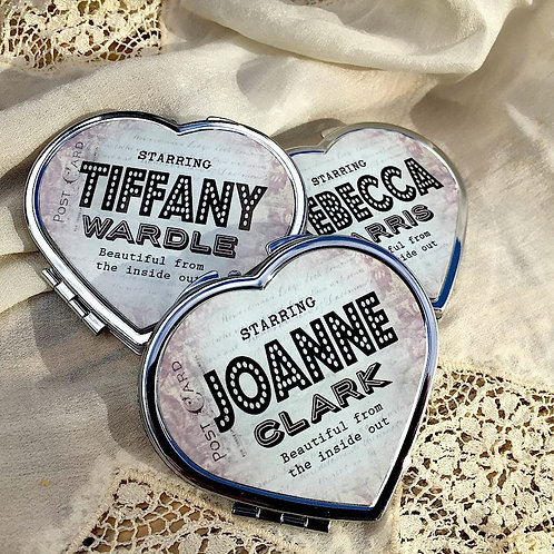 Personalised 'Vintage Hollywood Graphic' Heart Shaped Compact Mirror