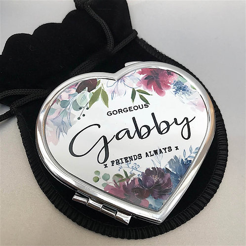 Personalised 'Rich Floral' Bouquet Heart Shape Compact Mirror