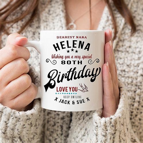 Personalised Vintage 'Birthday' Mug