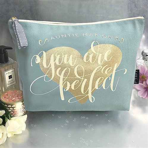 'You are Perfect' Duck Egg Large Wash Bag