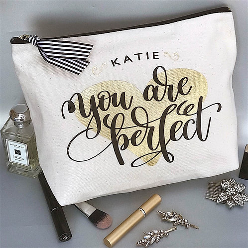 'You are Perfect' Heart Quote Cream Large Wash Bag