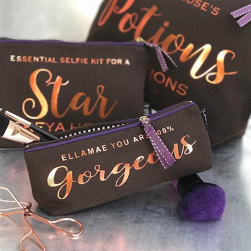 'Starlight' Metallic Text  Slim Chocolate Bag