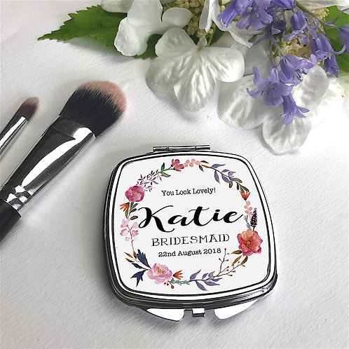 Personalised 'Posey Wreath' Compact Mirror