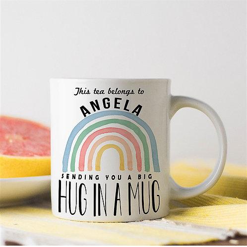 Rainbow 'HUG IN A MUG' Personalised Mug
