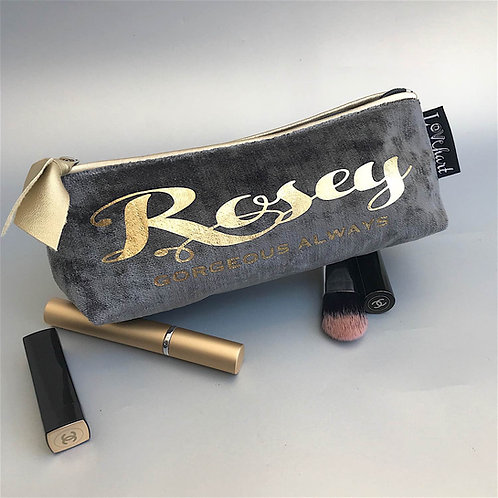 Slate Grey Velvet 'Gold Leatherette Trim' Makeup or Glasses Case