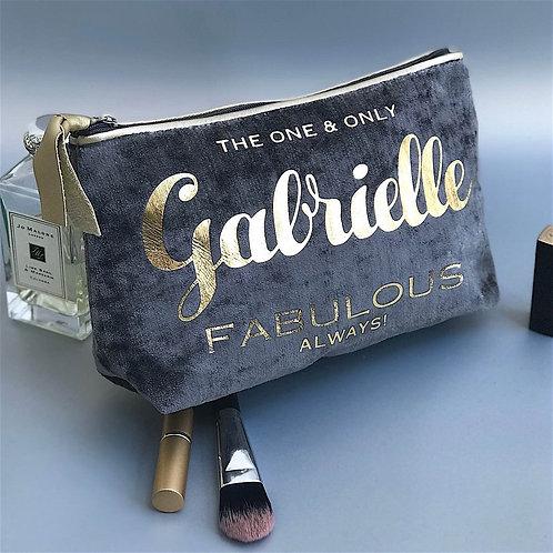 Slate Velvet 'Gold Leatherette Trim' Makeup Bag
