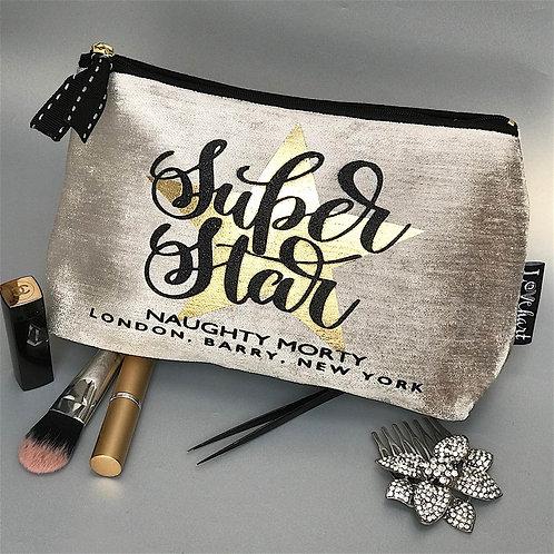'Super Star' quote Chenille Velvet Makeup Bag with black trim