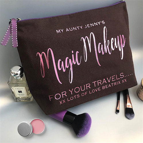 'Starlight' Metallic Text Large Chocolate Wash Bag