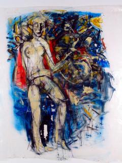 Frau mit rotem Umhang, 1983, Dispersion und Lack auf Folie
