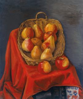 Äpfel und Birnen im Korb auf der roten Decke (II), 2000, Öl auf Leinwand