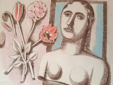 Frau mit Blumen, 1935, Kreide auf Papier, 47 x 60 cm