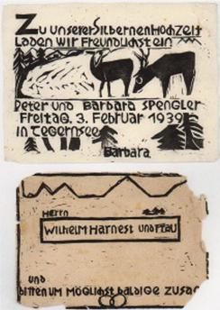 Einladung zur Silbernen Hochzeit, Holzschnitt,1939