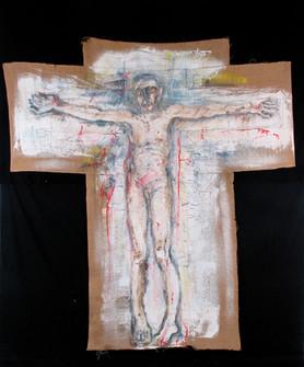 Menschliche Figur (Christus), 1983, Ölfarbe auf Sackleinen