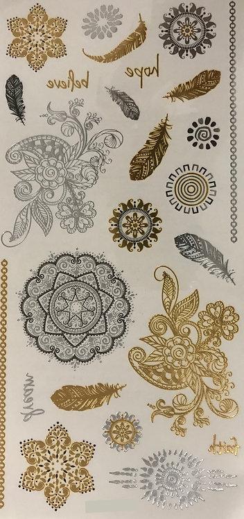 Planche Florale dorée et argentée