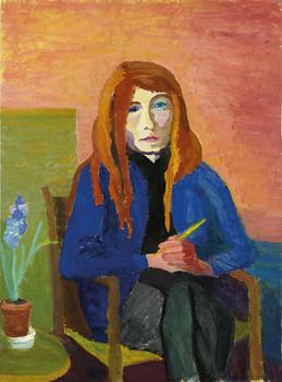 """""""Selbst"""" Die rote Perücke, Fasching bei Olde, undatiert, Öl auf Papier, 43 x 58 cm"""