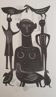Etruskisch, 1960, Scherenschnitt auf grau getupftem Papier, 38,5 x 24 cm