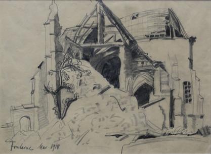 Église de Saint-Martin, Fontaine-Notre-Dame, 1918, Bleistift auf Papier