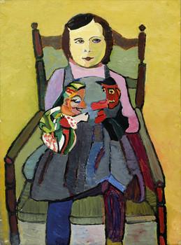 Erika U. mit Bimbos Kasperlpuppen, 1963, Öl auf Papier, 44,5 x 60 cm