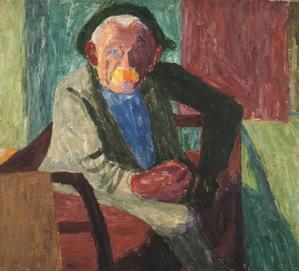 Alter einbeiniger Bauer, Öl auf Leinwand,1934, Öl auf Leinwand