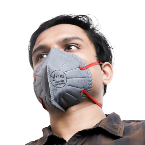 V-FREE N95 6320 FFP2 5 Layer Grey Respirator Mask (Pack of 3)