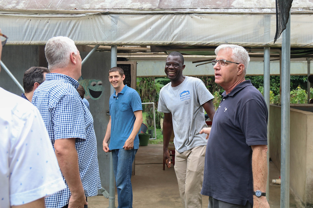 Ron Washer sharing a story at the aquaponics