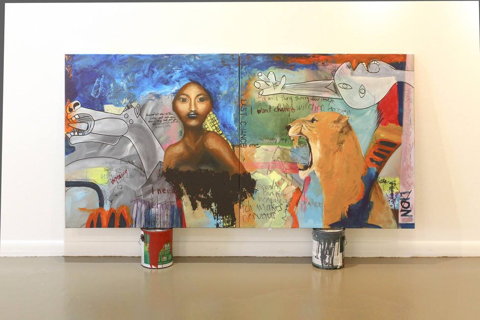 Mixed Media on canvas acrylic and oil 36 x 72