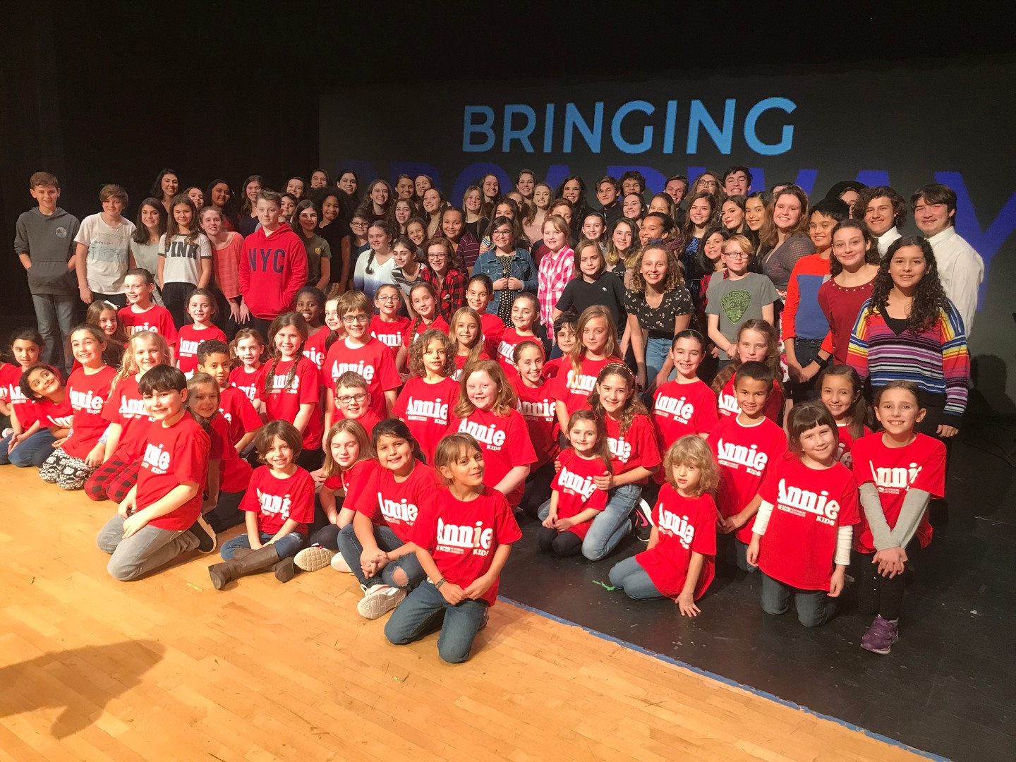 Lindsay Mendez and the kids of Beacon Performing Arts Center