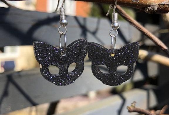 Black Glitter Cat Earrings